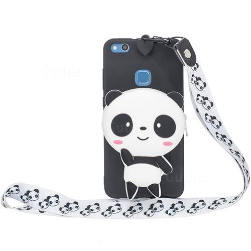 White Panda Neck Lanyard Zipper Wallet Silicone Case for Huawei P9 Lite G9 Lite