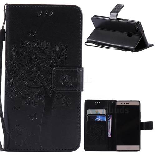 Embossing Butterfly Tree Leather Wallet Case for Huawei P9 Lite P9lite - Black