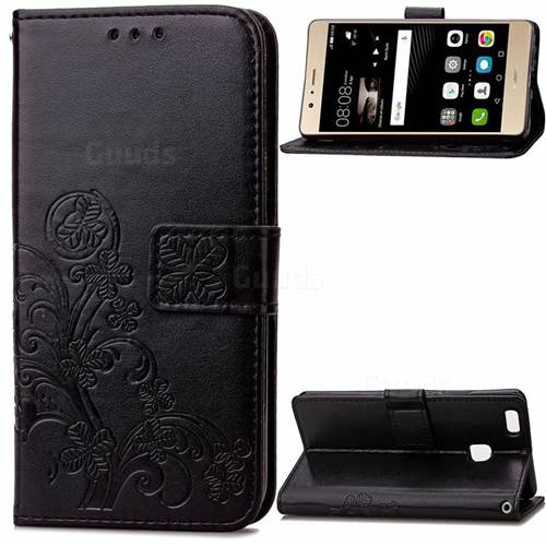 Embossing Imprint Four-Leaf Clover Leather Wallet Case for Huawei P9 Lite P9lite - Black