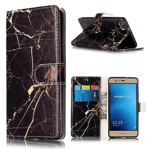 Black Gold Marble PU Leather Wallet Case for Huawei P9 Lite P9lite