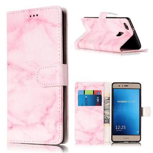 Pink Marble PU Leather Wallet Case for Huawei P9 Lite P9lite