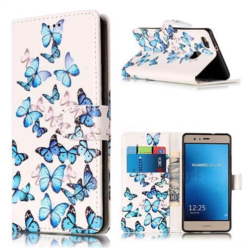 Blue Vivid Butterflies PU Leather Wallet Case for Huawei P9 Lite P9lite