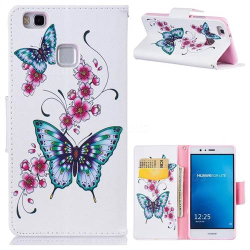 Peach Butterfly Leather Wallet Case for Huawei P9 Lite G9 Lite
