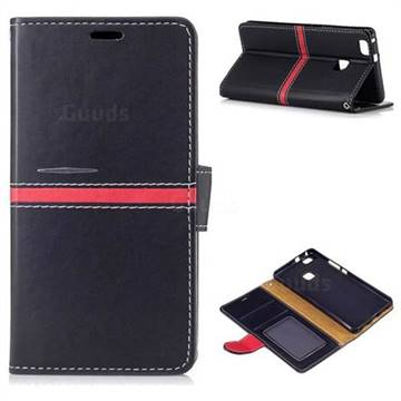 new product 6e65f 4026f Luxury Elegant PU Leather Wallet Case for Huawei P9 Lite G9 Lite - Black