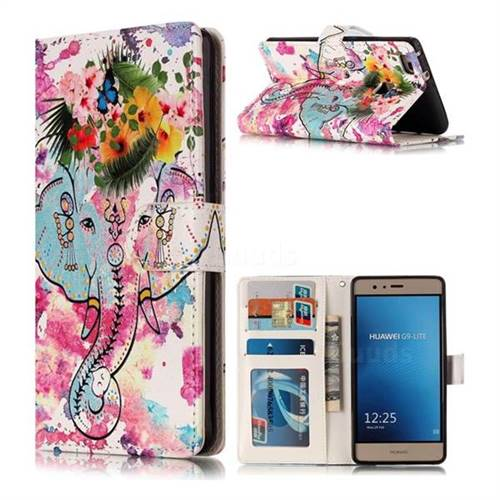 Flower Elephant 3D Relief Oil PU Leather Wallet Case for Huawei P9 Lite G9 Lite