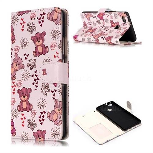 Cute Bear 3D Relief Oil PU Leather Wallet Case for Huawei P9 Lite G9 Lite