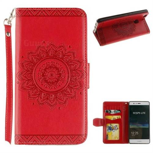 Embossed Datura Flower PU Leather Wallet Case for Huawei P9 Lite G9 Lite - Red