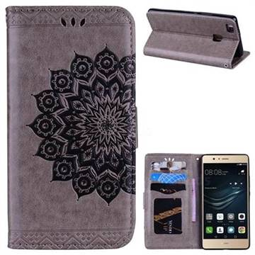 Datura Flowers Flash Powder Leather Wallet Holster Case for Huawei P9 Lite G9 Lite - Gray