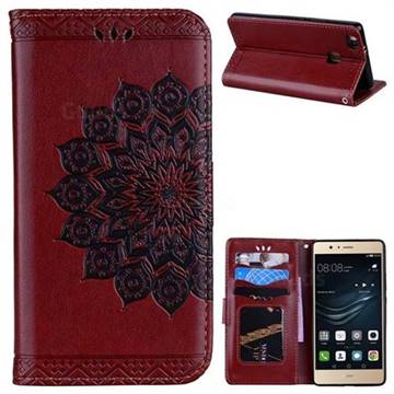 Datura Flowers Flash Powder Leather Wallet Holster Case for Huawei P9 Lite G9 Lite - Brown
