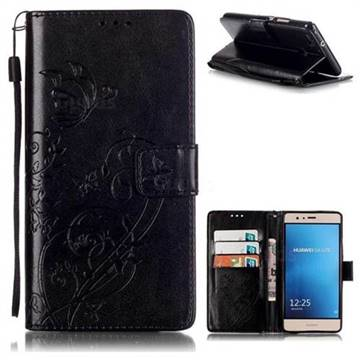 Embossing Butterfly Flower Leather Wallet Case for Huawei P9 Lite G9 Lite - Black