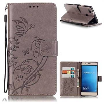 Embossing Butterfly Flower Leather Wallet Case for Huawei P9 Lite G9 Lite - Grey