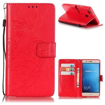Embossing Butterfly Flower Leather Wallet Case for Huawei P9 Lite G9 Lite - Red