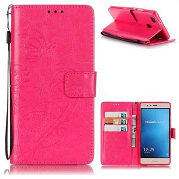 Embossing Butterfly Flower Leather Wallet Case for Huawei P9 Lite G9 Lite - Rose