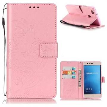 Embossing Butterfly Flower Leather Wallet Case for Huawei P9 Lite G9 Lite - Pink