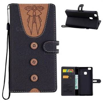 Ladies Bow Clothes Pattern Leather Wallet Phone Case for Huawei P9 Lite G9 Lite - Black