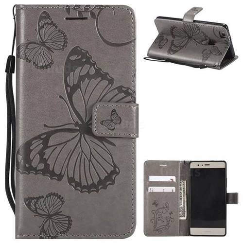 Embossing 3D Butterfly Leather Wallet Case for Huawei P9 Lite G9 Lite - Gray