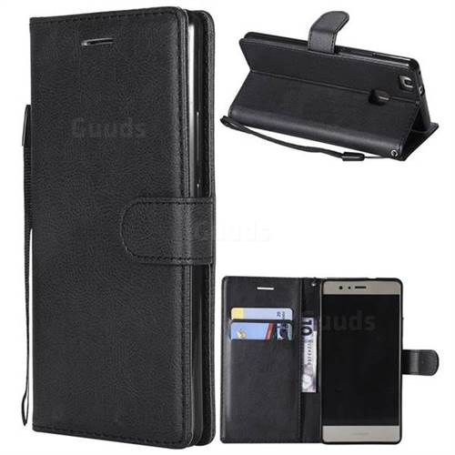 Retro Greek Classic Smooth PU Leather Wallet Phone Case for Huawei P9 Lite G9 Lite - Black