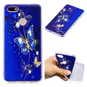 Gold and Blue Butterfly Super Clear Soft TPU Back Cover for Huawei P9 Lite Mini (Y6 Pro 2017)