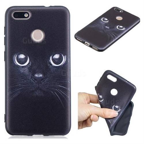 Bearded Feline 3D Embossed Relief Black TPU Cell Phone Back Cover for Huawei P9 Lite Mini (Y6 Pro 2017)