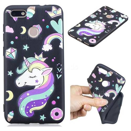 Candy Unicorn 3D Embossed Relief Black TPU Cell Phone Back Cover for Huawei P9 Lite Mini (Y6 Pro 2017)