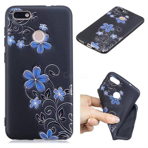 Little Blue Flowers 3D Embossed Relief Black TPU Cell Phone Back Cover for Huawei P9 Lite Mini (Y6 Pro 2017)