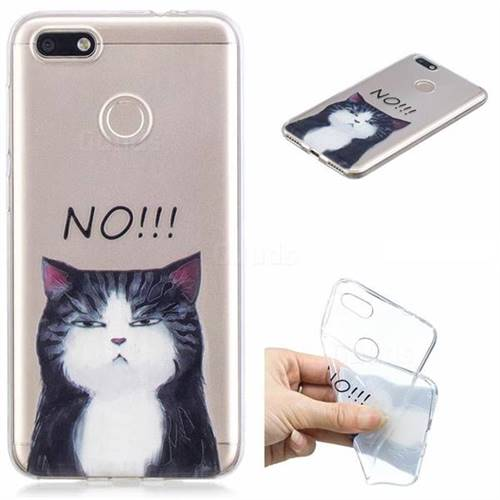 Cat Say No Clear Varnish Soft Phone Back Cover for Huawei P9 Lite Mini (Y6 Pro 2017)