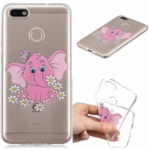 Tiny Pink Elephant Clear Varnish Soft Phone Back Cover for Huawei P9 Lite Mini (Y6 Pro 2017)