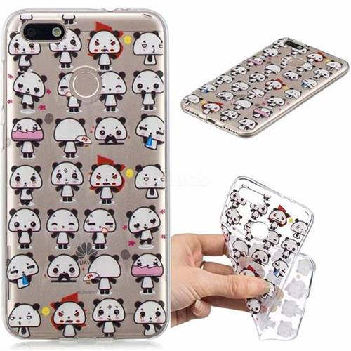 Mini Panda Clear Varnish Soft Phone Back Cover for Huawei P9 Lite Mini (Y6 Pro 2017)