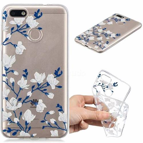 Magnolia Flower Clear Varnish Soft Phone Back Cover for Huawei P9 Lite Mini (Y6 Pro 2017)