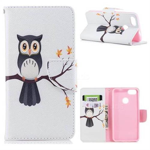 Owl on Tree Leather Wallet Case for Huawei P9 Lite Mini (Y6 Pro 2017)