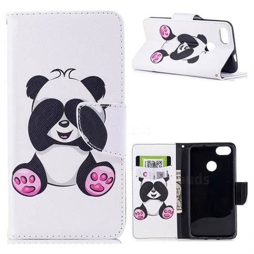 Lovely Panda Leather Wallet Case for Huawei P9 Lite Mini (Y6 Pro 2017)