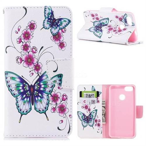 Peach Butterfly Leather Wallet Case for Huawei P9 Lite Mini (Y6 Pro 2017)