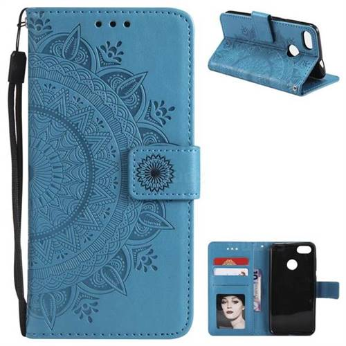 Intricate Embossing Datura Leather Wallet Case for Huawei P9 Lite Mini (Y6 Pro 2017) - Blue