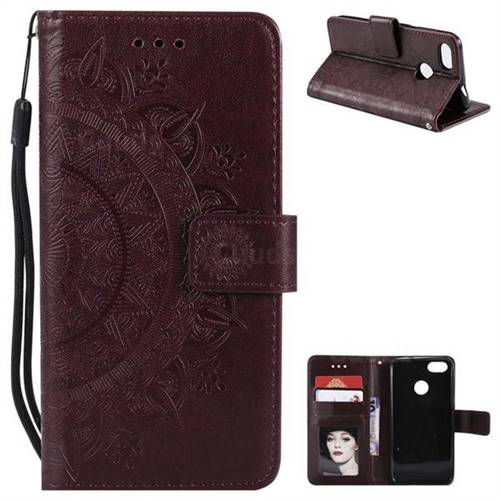 Intricate Embossing Datura Leather Wallet Case for Huawei P9 Lite Mini (Y6 Pro 2017) - Brown
