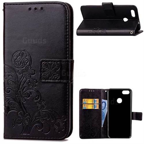 Embossing Imprint Four-Leaf Clover Leather Wallet Case for Huawei P9 Lite Mini (Y6 Pro 2017) - Black