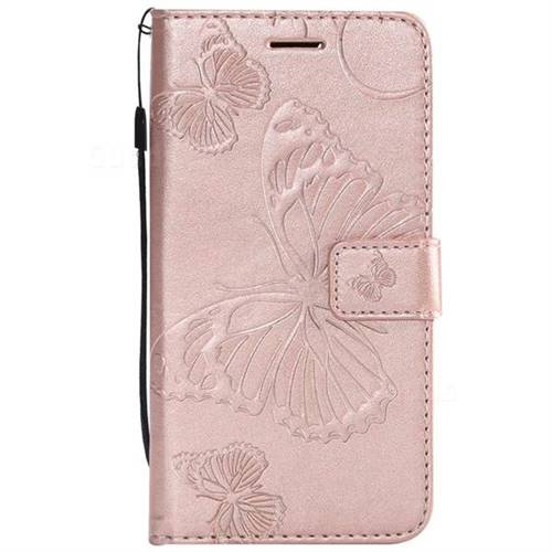 Embossing 3d Butterfly Leather Wallet Case For Huawei P9 Lite Mini Y6 Pro 2017 Rose Gold
