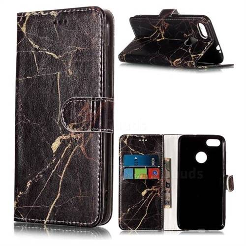 Black Gold Marble PU Leather Wallet Case for Huawei P9 Lite Mini (Y6 Pro 2017)