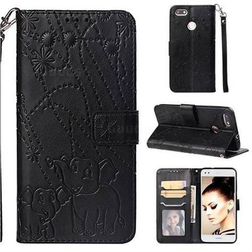 Embossing Fireworks Elephant Leather Wallet Case for Huawei P9 Lite Mini (Y6 Pro 2017) - Black
