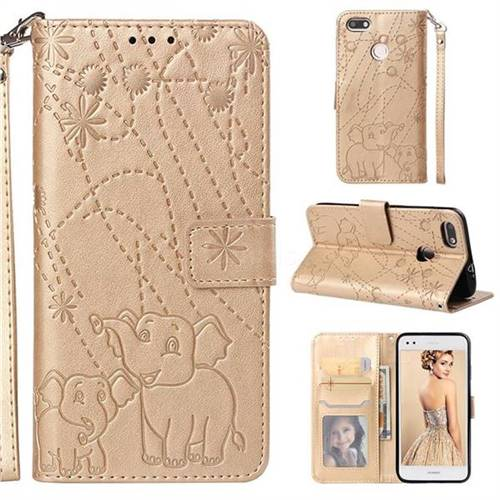 Embossing Fireworks Elephant Leather Wallet Case for Huawei P9 Lite Mini (Y6 Pro 2017) - Golden