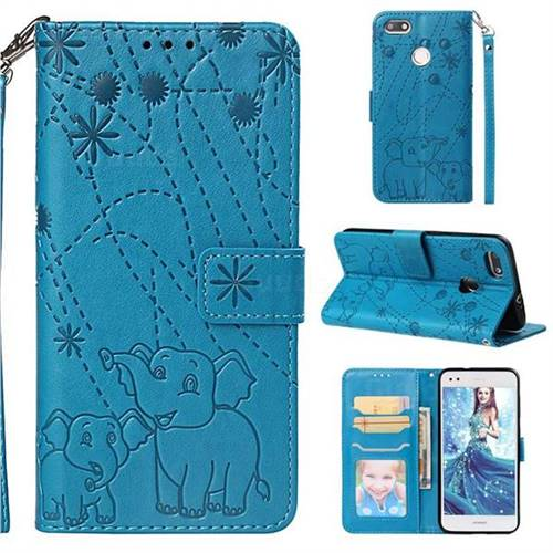 Embossing Fireworks Elephant Leather Wallet Case for Huawei P9 Lite Mini (Y6 Pro 2017) - Blue