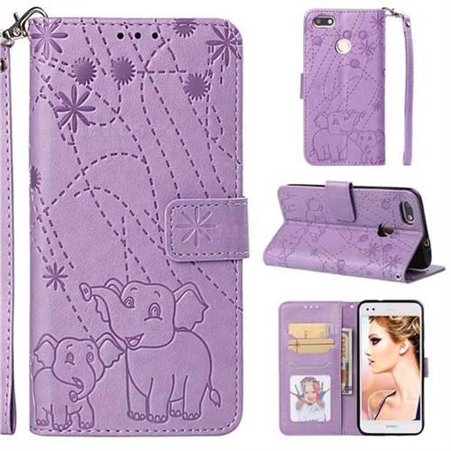 Embossing Fireworks Elephant Leather Wallet Case for Huawei P9 Lite Mini (Y6 Pro 2017) - Purple