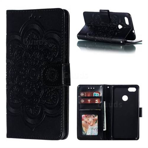 Intricate Embossing Datura Solar Leather Wallet Case for Huawei P9 Lite Mini (Y6 Pro 2017) - Black