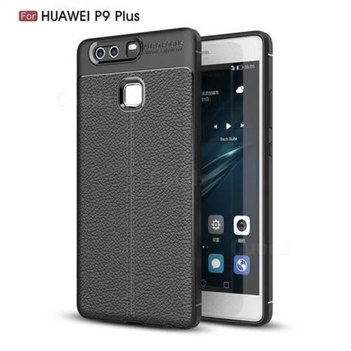 Luxury Auto Focus Litchi Texture Silicone TPU Back Cover for Huawei P9 Plus P9plus - Black