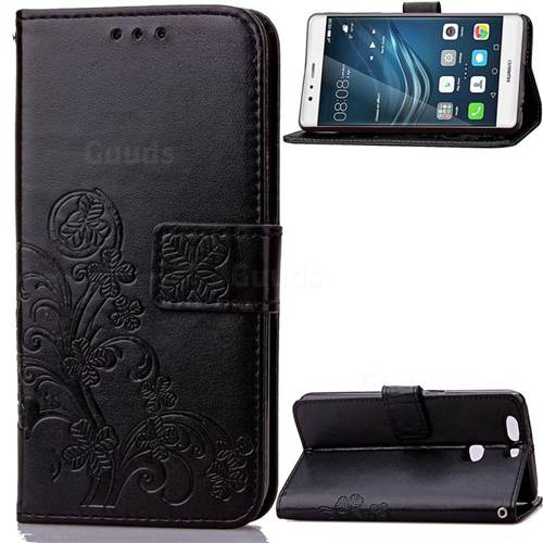 Embossing Imprint Four-Leaf Clover Leather Wallet Case for Huawei P9 Plus - Black