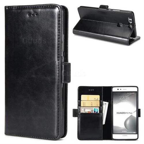 Luxury Crazy Horse PU Leather Wallet Case for Huawei P9 Plus P9plus - Black