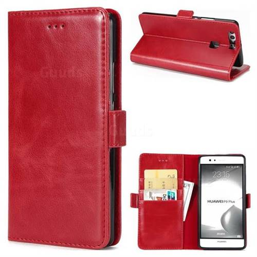 Luxury Crazy Horse PU Leather Wallet Case for Huawei P9 Plus P9plus - Red