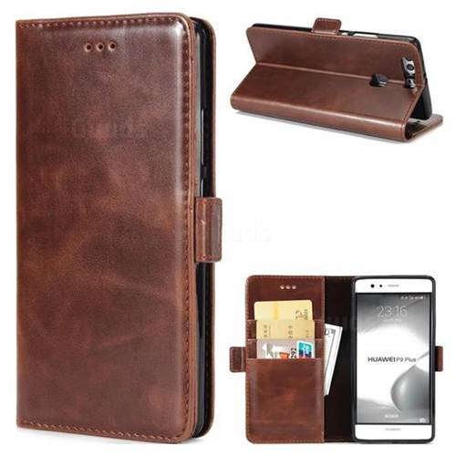 Luxury Crazy Horse PU Leather Wallet Case for Huawei P9 Plus P9plus - Coffee