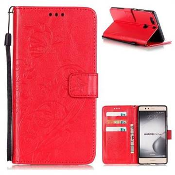 Embossing Butterfly Flower Leather Wallet Case for Huawei P9 Plus P9plus - Red