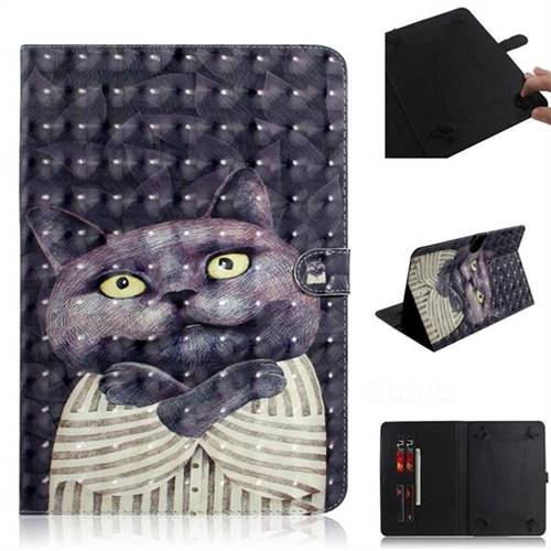 Cat Embrace 3D Painted Universal 10 inch Tablet Flip Folio Stand Leather Wallet Tablet Case Cover