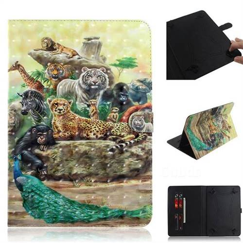 Beast Zoo 3D Painted Universal 10 inch Tablet Flip Folio Stand Leather Wallet Tablet Case Cover